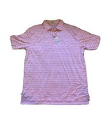 Peter Millar Crown Ease 100% Cotton Pink Blue Stripe Polo Golf Shirt NWT... - $48.51