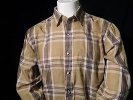 Mens Beige Chaps Ralph Lauren Plaid Pearl Button Front Long Sleeve Shirt Sz L  - $19.95