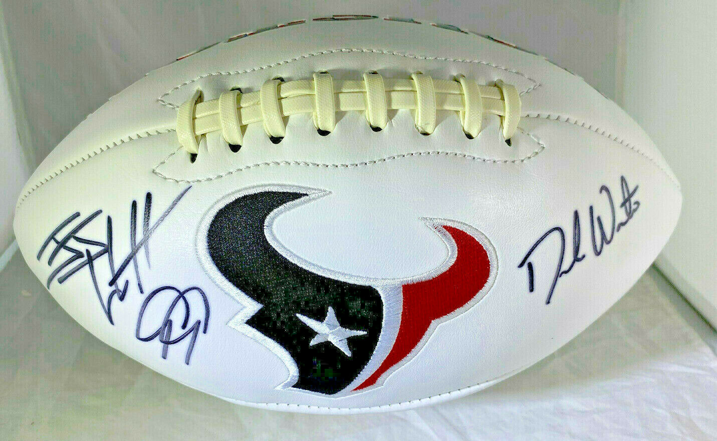 JJ WATT & DESHAUN WATSON / AUTOGRAPHED TEXANS WHITE PANEL FOOTBALL / PLAYER HOLO