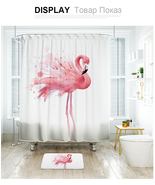 Cute Flamingo 44 Shower Curtain Waterproof Polyester Fabric & Bath Mat B... - $15.30+