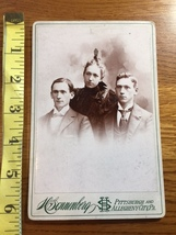 Cabinet Card Two Brothers & Sister PA Studio Artwork Nice 1860-80! - $12.00