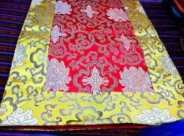 Tibetan Buddhist high quality silk brocade lotus table runner/altar cloth - $24.00