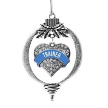 Inspired Silver Blue Trainer Pave Heart Holiday Christmas Tree Ornament - $14.69