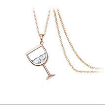 Fashion Womens Wine Glass Necklace Pendant Stainless Steel Beer Unique J... - $13.36