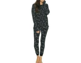AnyBody Cozy Knit Waffle Printed Pajama Set, Black/Hearts,Size XXS, A345787 - $24.74