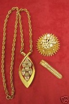 LOT OF 3 GOLDTONE NECKLACE RHINESTONES BROOCH PIN CLIP - $14.80