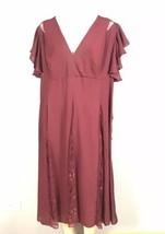 ASOS Curve Dress Size 16 Lace Detail Burgundy - $46.56