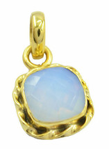 resplendent Fire Opal CZ Gold Plated White Pendant Natural indian US gift - $9.89