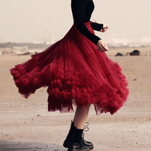 Burgundy Midi Puffy Tutu Skirt Burgundy High Waisted Layered Tulle Skirt Plus  image 5