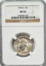 1944 S 25c Washington Silver Quarter Dollar NGC MS66 Brilliant Uncirculated - $56.12