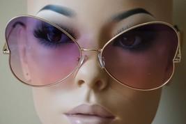 CLASSIC VINTAGE RETRO CAT EYE Style SUN GLASSES Gold Frame Purple & Pink... - $9.85