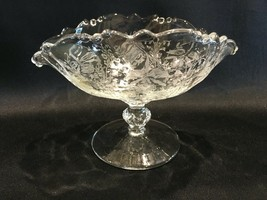 Heisey Vintage Etched Glass Orchid Pattern Pedestal Candy Gravy Compote ... - $39.99