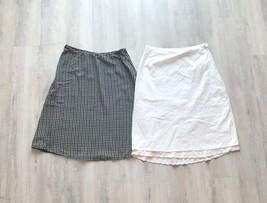 Lot of 2 Casual Skirts Women's Sz 8 Talbots, Hunt Club Black White Silk Eyelet  - $18.23