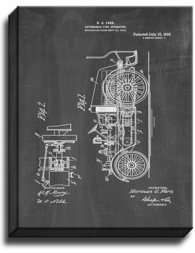 Primary image for Automobile Fire Apparatus Patent Print Chalkboard on Canvas