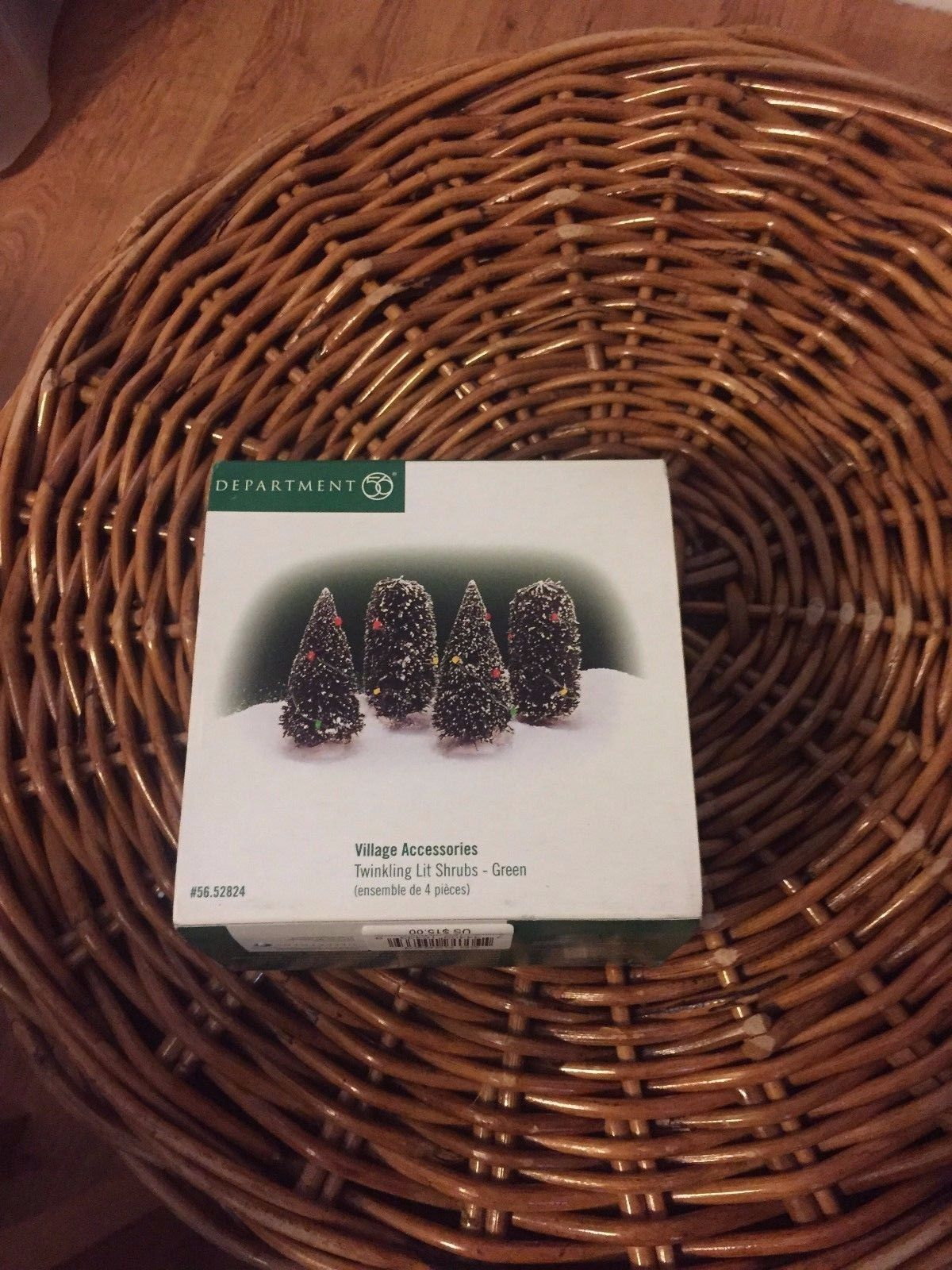 "Dept. 56  Village Accessories  ""Twinkling Lit Shrubs""  Green (4)  #52824"