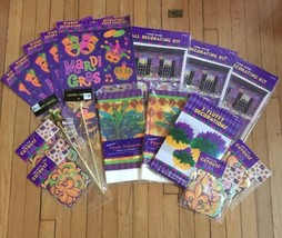 MARDI GRAS Party Decorations Pack - 118 pcs Wall/Table/Window/Pom Pom Decor - $46.75