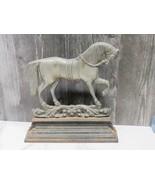 "Antique No 3 Cast Iron Nickel Horse Stallion Door Stop Flat 12"" Farmhouse  - $83.16"
