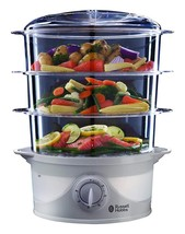 Russell Hobbs 3 Tier 9 L Capacity 800 W Food Steamer 21140 - White - $37.21