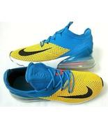 Nike Mens Air Max 270 Flyknit Running Shoes Laser Orange Black Blue Size... - $103.94