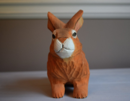 Carved Wooden Bunny Rabbit Figurine Decorative Animal - $14.00