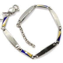 925 STERLING SILVER BRACELET, ALTERNATE OVAL PLATES AND GLAZED NAUTICAL FLAGS  image 2