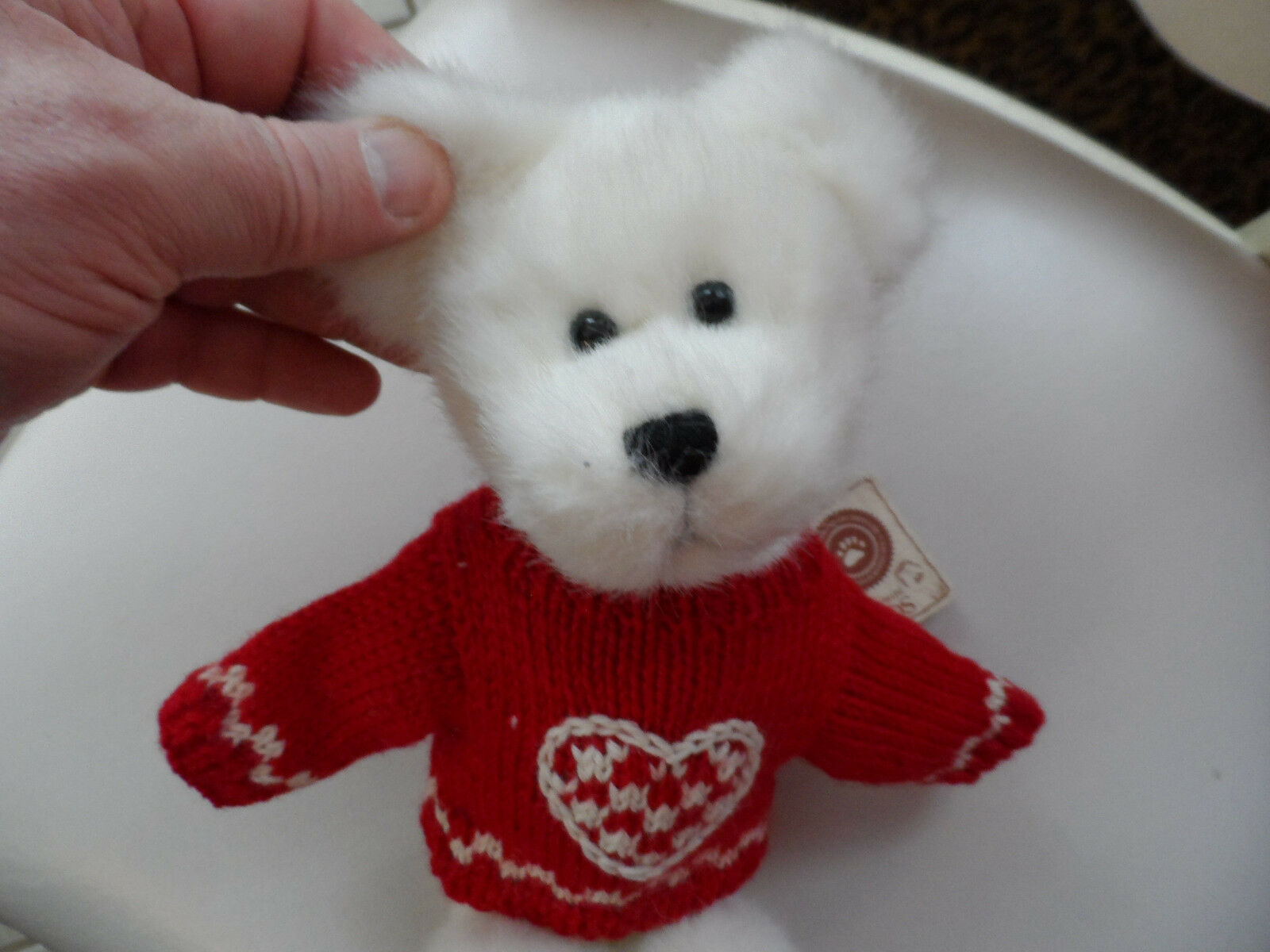 White Boyds bear wearing red valentine sweater 10""