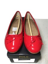 Polo Ralph Lauren Kids Nellie Leather Ballet Flat Red Size 5 NIB - $39.59