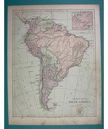1875 MAP COLOR - SOUTH AMERICA Political - $6.71
