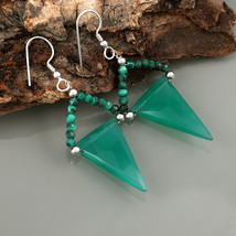 Green Onyx & Malachite 925 Sterling Silver Drop Dangle Earrings Gift for... - $22.99