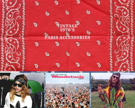 Vintage 1970's Red Bandana Paris Accessories, Inc. Color Fast Cotton RN ... - $20.79