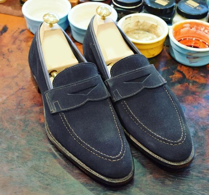 44495bd523cd0 Men Slip On Suede Formal Shoes, Penny Loafer Navy Blue Business ...