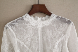 White 3/4 Sleeve Short Lace Tops Bridal Bridesmaid Shirts Boho wedding Lace Tops image 2