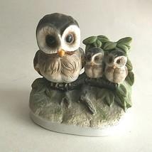 "Vintage Homco Ceramic Owls Figurine Mom & Babies 4X4"" 1298 Mid Century Collector - $14.60"