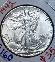 1942 Walking Liberty Half Dollar 90% Silver Coin Lot# E 160