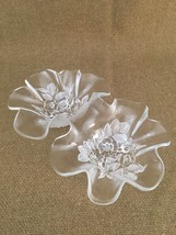 Mikasa Rosella Clear Frosted Glass Floral Ruffled Edge Double Relish Nut Dish - $12.16