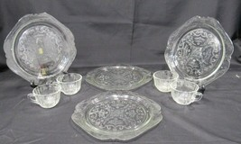 Set of 4 Clear Madrid square snack plates with cups Madrid Indiana Recol... - $21.19