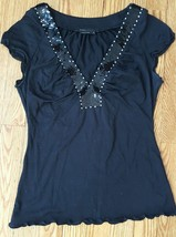 BCBG MAX AZRIA Black V neck sequin trim Stretch fine knit Blouse Top Size S - $6.92