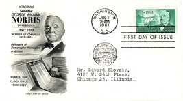 July 11, 1961 First Day of Issue, Fleetwood Cover, Senator George Willia... - $1.09