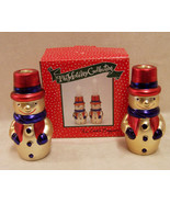 NIB PAIR OF SNOWMEN CANDLE CANDLESTICK TAPER HOLDERS GOLDTONE CHRISTMAS ... - $10.84