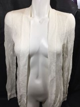 Lucky Brand Women Blouse Long Sleeve Cream White Open Front  Net Stretch Size M - $14.95