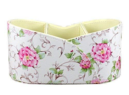 Luxury PU Desktop Storage Box Home Storage Case Cosmetic Box PINK Flowers