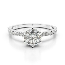 0.75CT Forever One Moissanite 6 Prong White Gold Ring With Diamonds - $15.882,04 MXN+