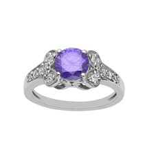 7 MM Round Purple CZ 925 Sterling Silver With Accent Ring Jewelry For Wo... - $8.00