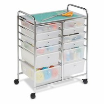 Rolling Storage Cart Organizer Art Craft Office Carrier w/ 12 Plastic Dr... - $84.20