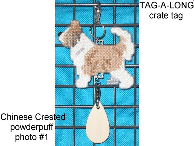 Chinese Crested Powderpuff dog crate tag or hang anywhere, handmade, powder puff