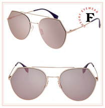 FENDI EYELINE 0194 Copper Rose Gold Mirror Aviator Metal Flat Sunglasses... - $197.01