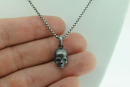 "DAVID YURMAN Sterling Silver Blackened Small Skull and Chain (22"") - $495.00"