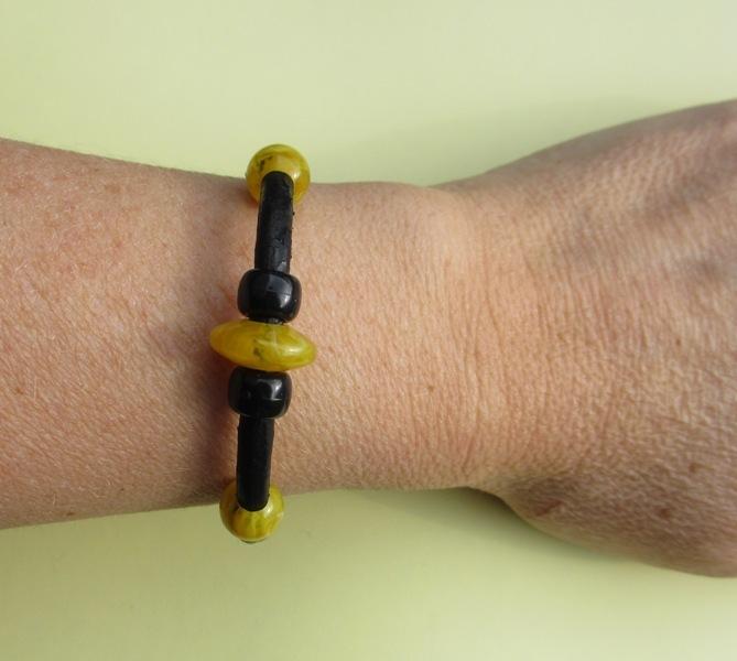 Yellow black leather bracelet, yellow black bead jewelry, bead bracelet leather