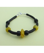Yellow black leather bracelet, yellow black bead jewelry, bead bracelet ... - £4.06 GBP