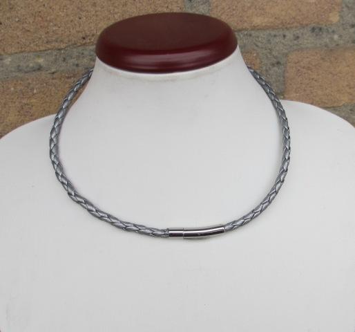 Braided metallic Bolo leather set: necklace - choker - wristband - bracelet